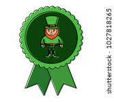 rosette badge with leprechaun... | Shutterstock .eps vector #1027818265