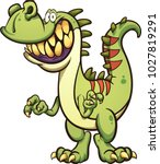 Happy Cartoon T Rex Dinosaur...