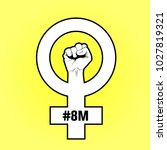 female symbol with a raised... | Shutterstock .eps vector #1027819321
