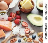 ketogenic diet  low carb  high... | Shutterstock . vector #1027820359