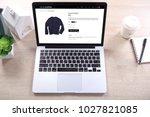 blue navy sweater on ecommerce... | Shutterstock . vector #1027821085