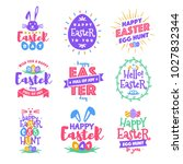 vector happy easter day emblem... | Shutterstock .eps vector #1027832344