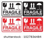 fragile handle with care... | Shutterstock .eps vector #1027836484