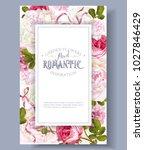 vector vintage floral frame... | Shutterstock .eps vector #1027846429