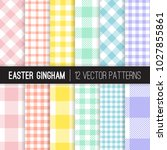 Easter Pastel Colors Gingham...