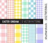 easter pastel colors gingham... | Shutterstock .eps vector #1027855861