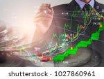 double exposure businessman and ... | Shutterstock . vector #1027860961