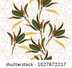 leaves background vector with... | Shutterstock .eps vector #1027872217