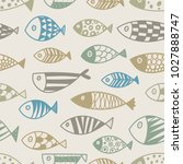 cute line fish.  kids... | Shutterstock .eps vector #1027888747