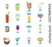 cocktail drink in glass 3d... | Shutterstock .eps vector #1027889965