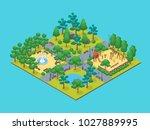 green city park concept 3d...   Shutterstock .eps vector #1027889995