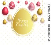 happy easter egg with flowers ... | Shutterstock .eps vector #1027890367
