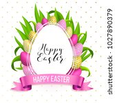 happy easter egg with flowers ... | Shutterstock .eps vector #1027890379