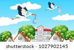 birds delivering babies in the... | Shutterstock .eps vector #1027902145