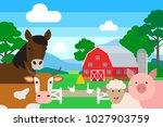 farm animals .horse cow pig...   Shutterstock .eps vector #1027903759