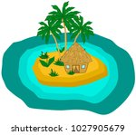 island with palm trees and... | Shutterstock .eps vector #1027905679