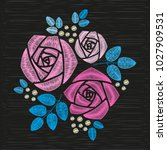 embroidery pink rose. vector... | Shutterstock .eps vector #1027909531