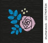 embroidery pink rose. vector... | Shutterstock .eps vector #1027909534