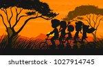 silhouette scene with family... | Shutterstock .eps vector #1027914745