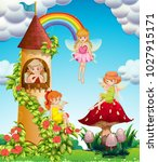 four fairies flying in garden... | Shutterstock .eps vector #1027915171