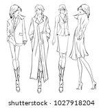 stylish fashion models. pretty...   Shutterstock .eps vector #1027918204