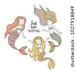 cute little mermaids. under the ... | Shutterstock .eps vector #1027918849
