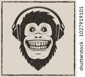 monkey with headphones t shirt... | Shutterstock .eps vector #1027919101
