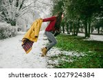 climate change. winter change... | Shutterstock . vector #1027924384