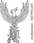 phoenix tattoo isolated on... | Shutterstock .eps vector #1027931155