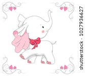 cute white elephant. hand drawn ... | Shutterstock .eps vector #1027936627