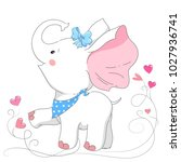 cute white elephant. hand drawn ... | Shutterstock .eps vector #1027936741
