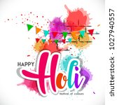 happy holi vector elements for ... | Shutterstock .eps vector #1027940557