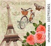 paris vintage postcard. | Shutterstock .eps vector #1027951801