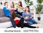 young boy  switches the channel ... | Shutterstock . vector #102795701