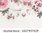 beautiful pastel pink layout... | Shutterstock . vector #1027957429