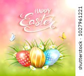 three colorful easter eggs with ... | Shutterstock .eps vector #1027961221