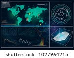 hud.radar screen. vector... | Shutterstock .eps vector #1027964215