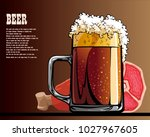 beer and snack from meat | Shutterstock .eps vector #1027967605
