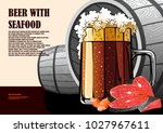 beer and seafood hand drawn... | Shutterstock .eps vector #1027967611