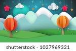 cartoon paper landscape. tree ... | Shutterstock .eps vector #1027969321