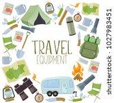 set of travel equipment.... | Shutterstock .eps vector #1027983451