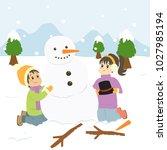 two happy kids building snowman ...   Shutterstock .eps vector #1027985194