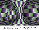 moving checkered hyperboloid... | Shutterstock .eps vector #1027992109