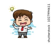 cute happy boss with idea... | Shutterstock .eps vector #1027994611
