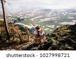 woman boho hat  a poncho ... | Shutterstock . vector #1027998721