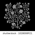 embroidery tree branch. vector... | Shutterstock .eps vector #1028008921