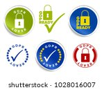 european gdpr ready badges ... | Shutterstock .eps vector #1028016007