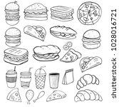 set of hand drawn food isolated ... | Shutterstock .eps vector #1028016721