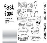 set of hand drawn food isolated ... | Shutterstock .eps vector #1028016739
