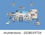 illustration of man and robot... | Shutterstock . vector #1028019724